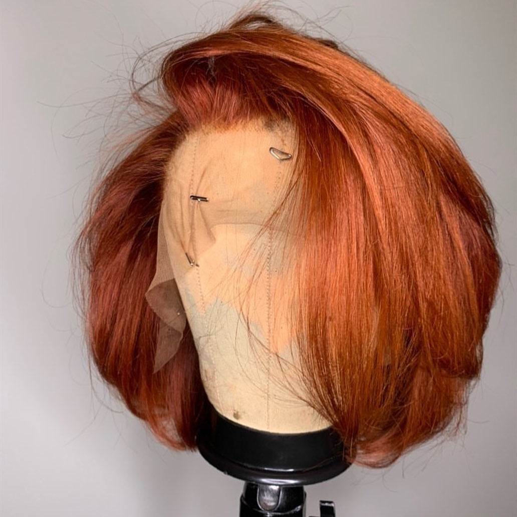 Peruvian Hair Ginger Color Straight Lace Front Bob Wig
