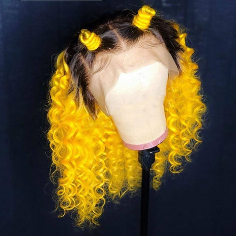 Yellow With Black Root  wig