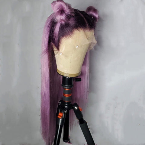 Straight purple wig