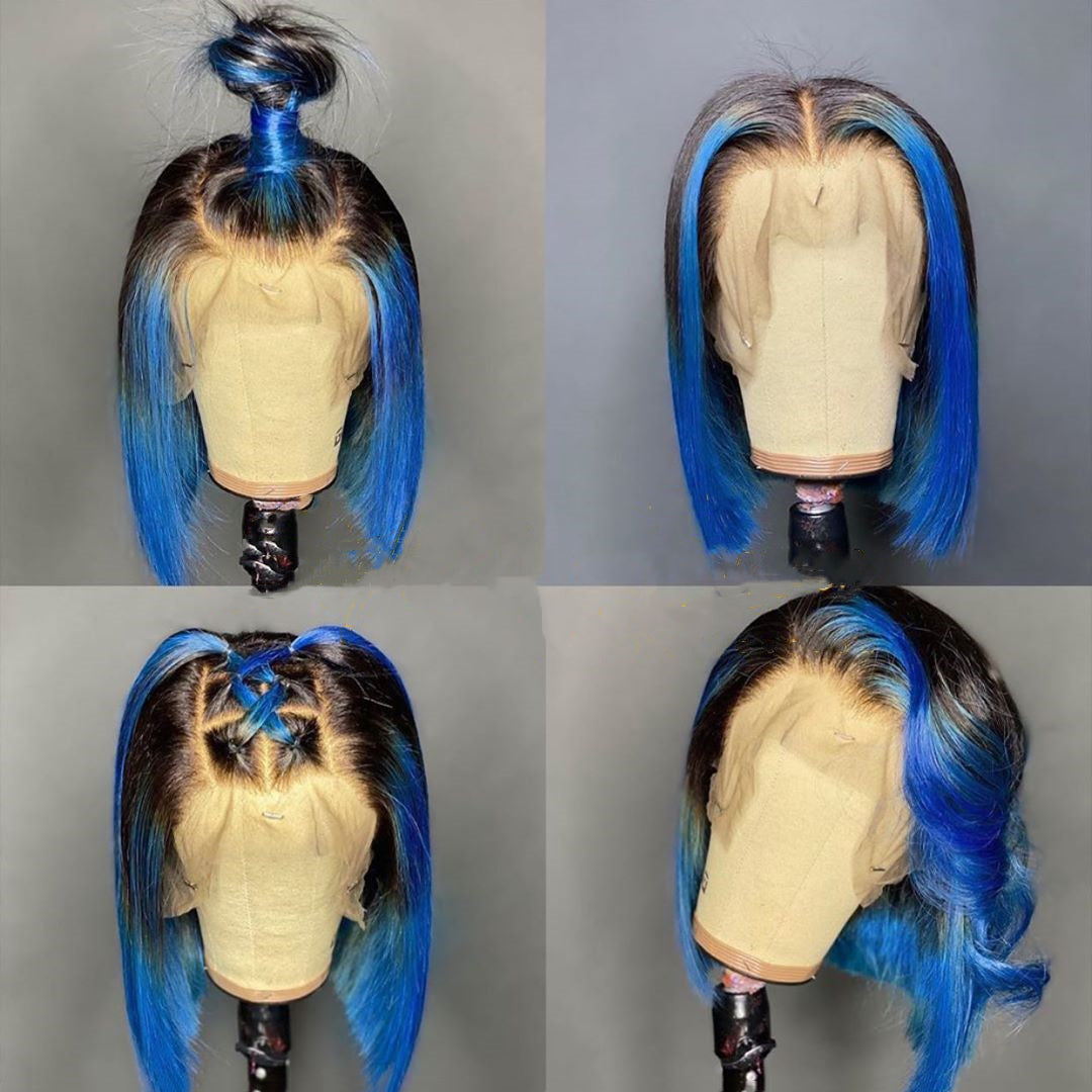 Peruvian Hair Blue with Black Root Color Lace Front Bob Wig