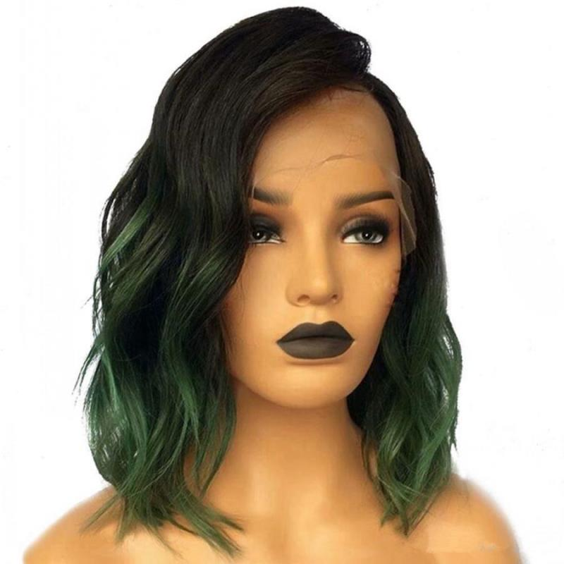 slight wave bob wig green mix black
