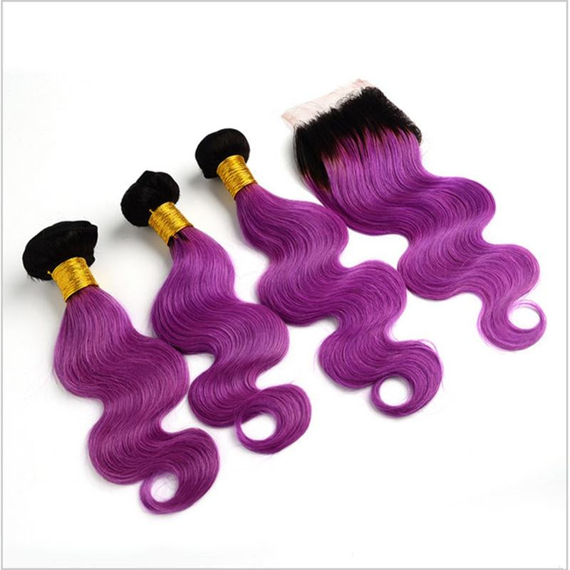 Peruvian Hair Three Weft With One Closure Body Wave purple