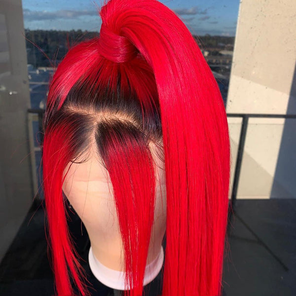 Peruvian Hair Lace Front Wig Red with Black Root Color Straight Style