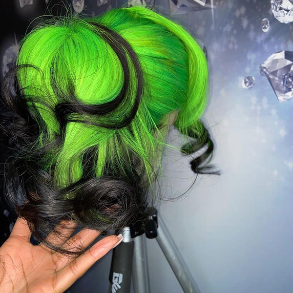 Gradient Green Black Highlights lace wig