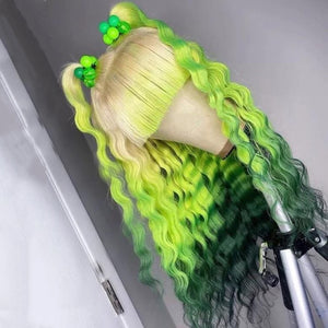 Blonde Green with bangs deep wave wig