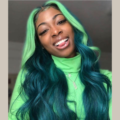 Peruvian Hair Dark Green With Light Green Highlights Body Wavy Lace Front Wig