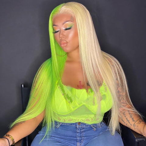 Peruvian Hair Half Green and Half Blond Color Straight Lace Front Wig