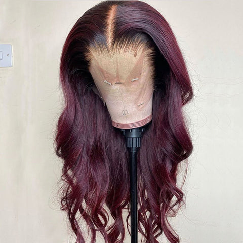 Burgundy with Black Root Color Body Wavy Lace Front Wig