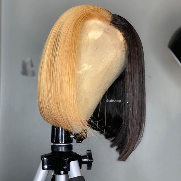 Peruvian Hair Half Dark Blond And Half Black Color Straight Lace Front Bob Wig