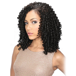 Brazilian Human Hair Black Color Spring Curl Lace Front Wig