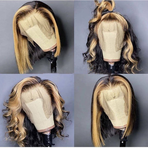 Peruvian Hair Blond Black Ombre Color Fashion Lace Front Bob Wig