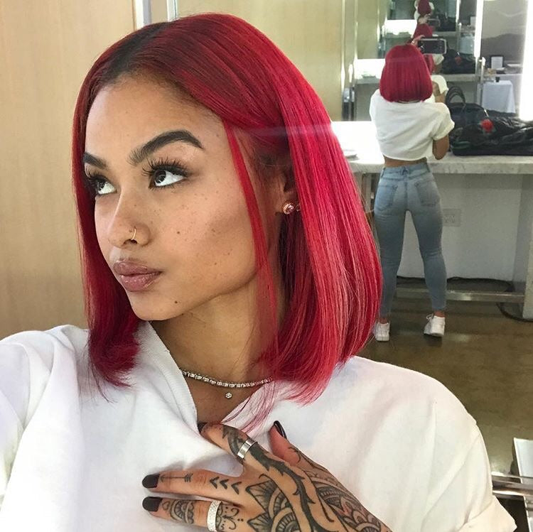 Peruvian Hair Red With Black Root Color Straight Lace Front Bob Wig