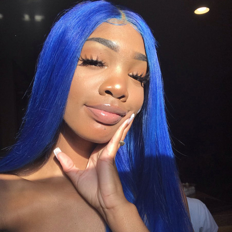 Peruvian Hair Blue Color Straight Full lace wig