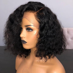 Brazilian Hair Black Color Lace Front Curly Bob Wig