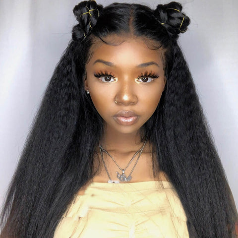 Peruvian Hair Black Color Lace Front Wig Kinky