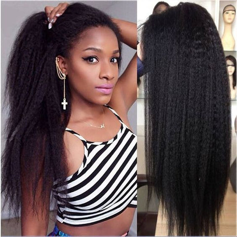 Brazilian Hair Black Color Fashion Yaki Long Hair Lace Front Wig