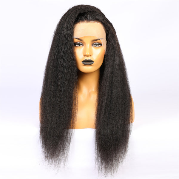 Brazilian Hair Black Yaki Long Hair Full Lace Wig