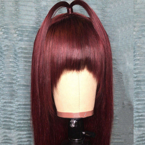 Peruvian Hair Cute Burgundy Color Straight with Bangs Lace Front Wig