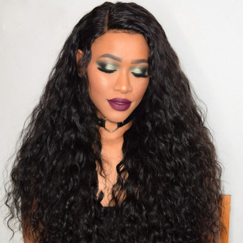 Peruvian Human Hair Black Color Deep wavy Lace Front Wig