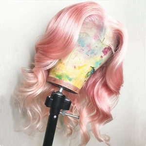 Peruvian Hair Light Pink Color Body Wavy Lace Front Wig