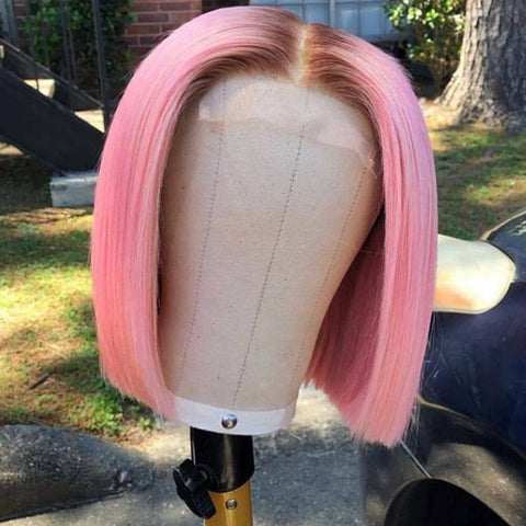 Pink with Brown Root Color wig