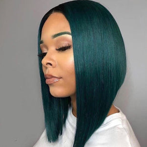 Peruvian Hair Dark Green Color Lace Front Bob Wig