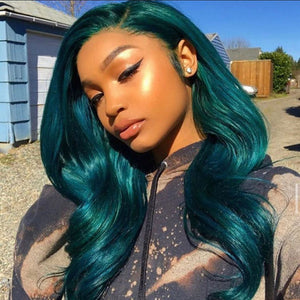 Peruvian Hair Dark Green Color Fashion Style Lace Front Wig
