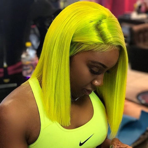 Peruvian Hair Neon Green Color Straight Fashion Lace Front Wig