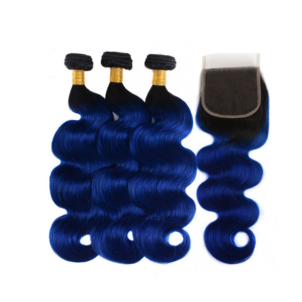 Peruvian Hair Three Weft With One Closure Body Wave blue