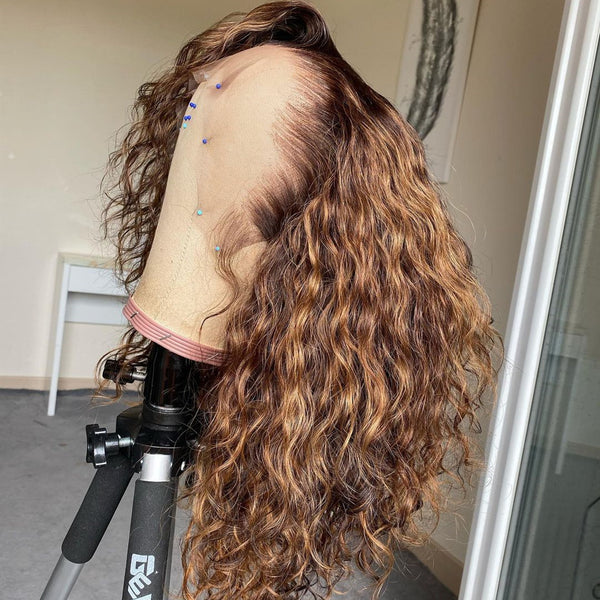 Brown and Blond Ombre Color Water Wave hair