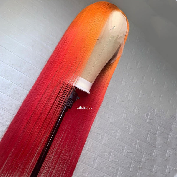 Peruvian Hair Gradient Color Orange and Red Lace Front Wig