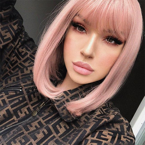 Peruvian Hair Light Pink Color Straight Lace Front Bob Wig With Bangs