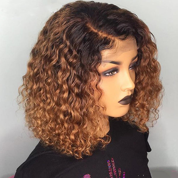 Brown Color with Black Root wig