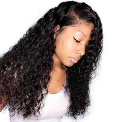 Brazilian Hair Natural Color Curly Long Hair Full Lace Wig