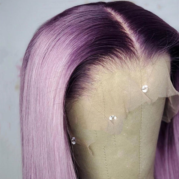 Light Purple Color with Black Root Straight Lace Front Wig natural hairline