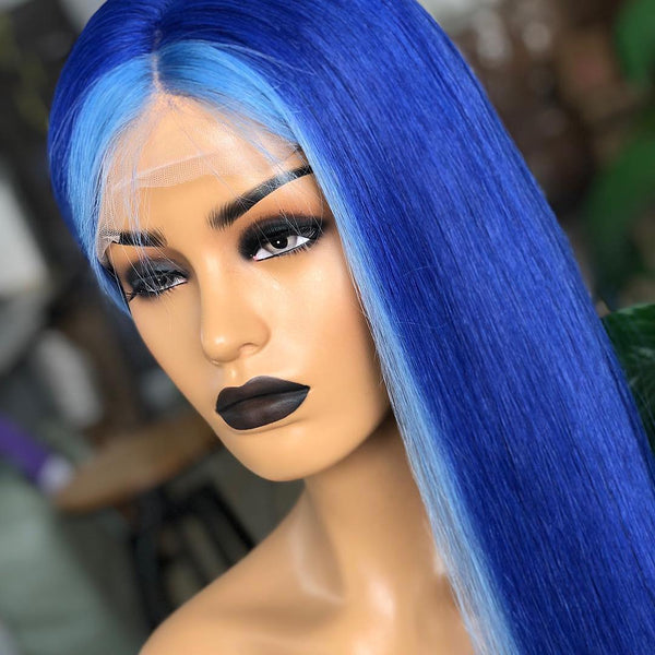 Light Blue with Royal blue WIG