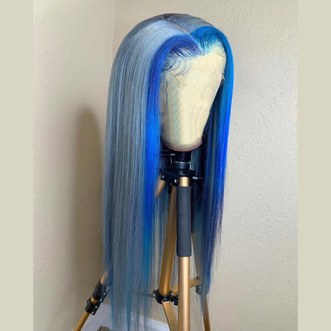 Peruvian Hair Light Blue With Dark Blue Color Highlights Lace Front Wig