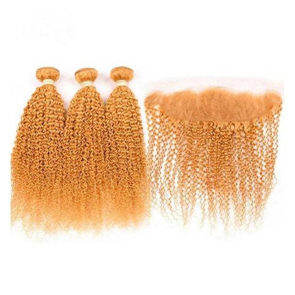 Peruvian hair - Three hair weft with one frontal - Curly orange
