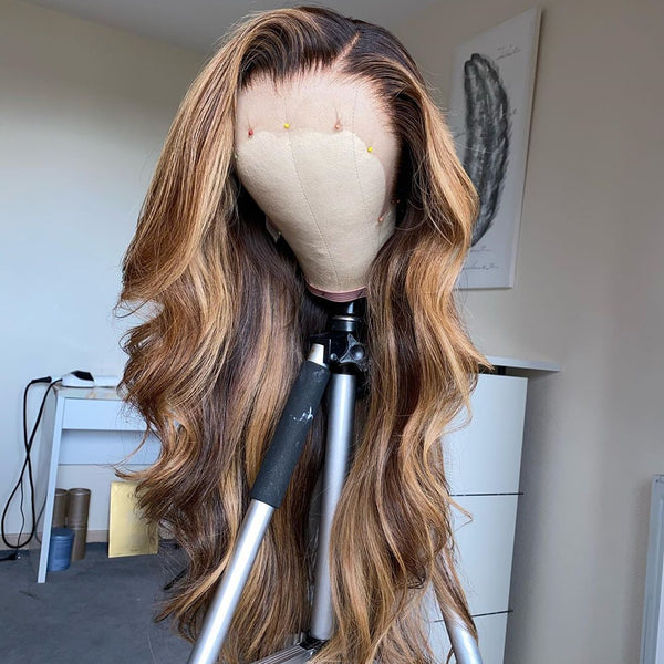 Peruvian Hair Fashion Ombre Color Body Wavy Lace Front Wig