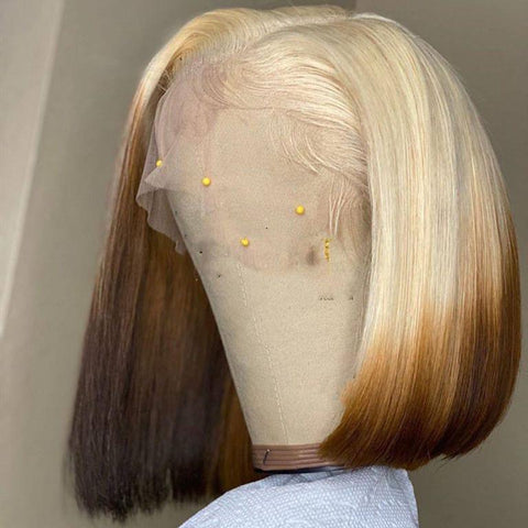 Peruvian Hair Gradient Blond With Brown Color Lace Front Bob Wig