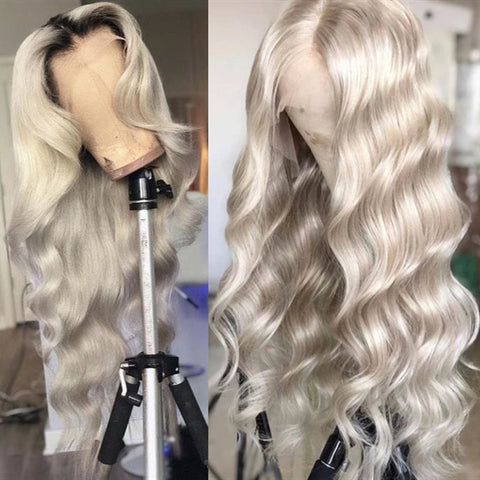 silver  color body wave wig