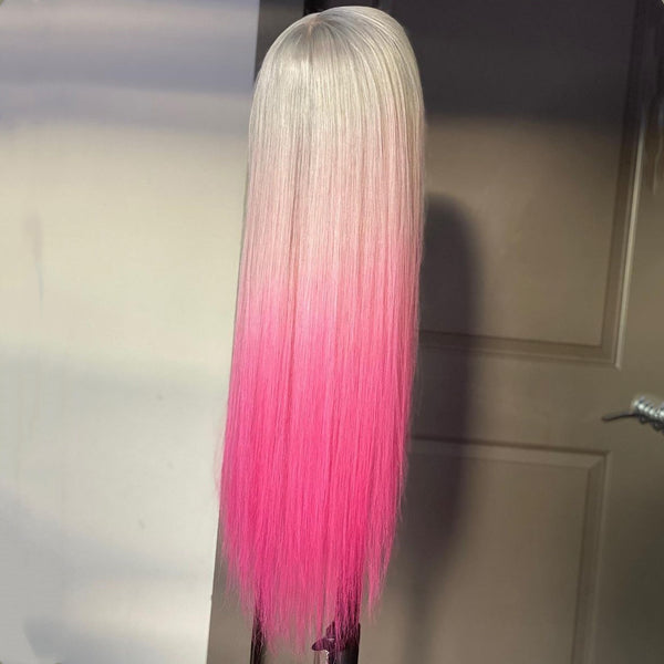 Gradient Color Silver Pink Straight Lace Front Wig