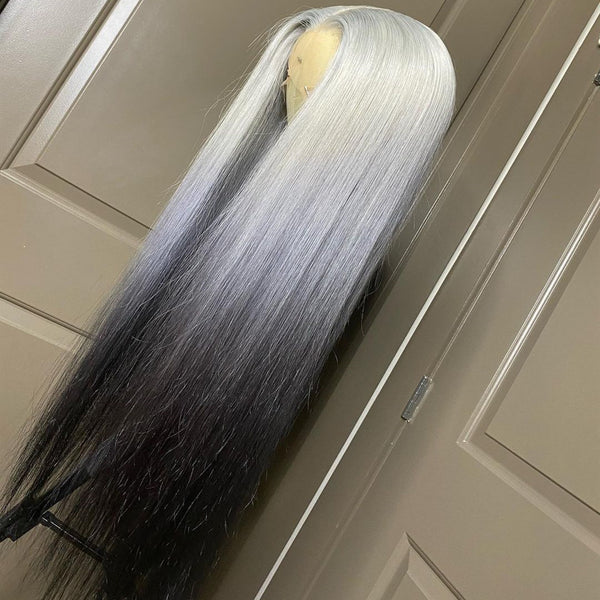 Peruvian Hair Gradient Color Silver Black Straight Lace Front Wig