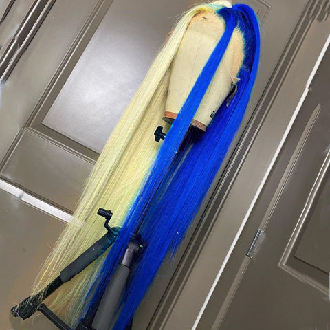 Half Blond and Half Royal Blue wig