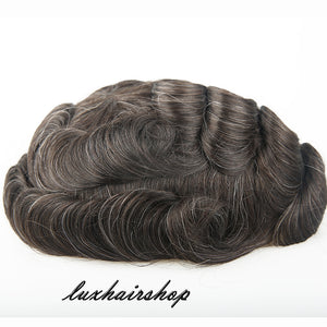 European Virgin Human Hair Brown Mix White Thin Skin Base Man Toupee Single Knot