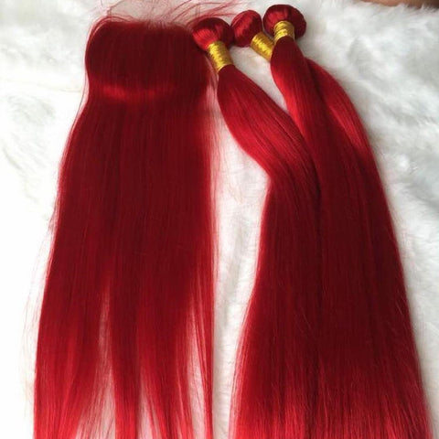Peruvian hair - Three hair weft with one Closure - Straight Red