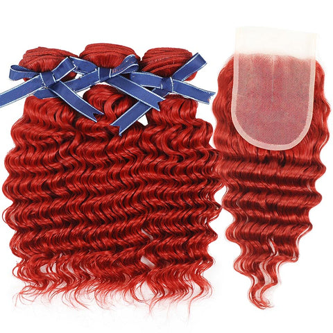 Peruvian hair - Three hair weft with one Closure - Curly Red