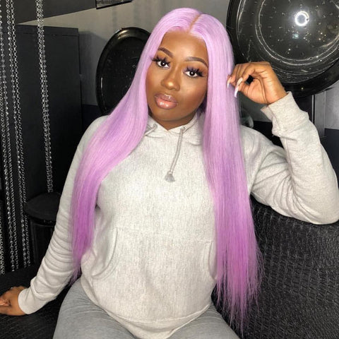 Peruvian Hair Light Pink Color Straight Full lace wig