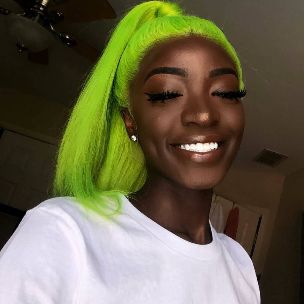 Peruvian Hair Green Color Straight Lace Front Wig