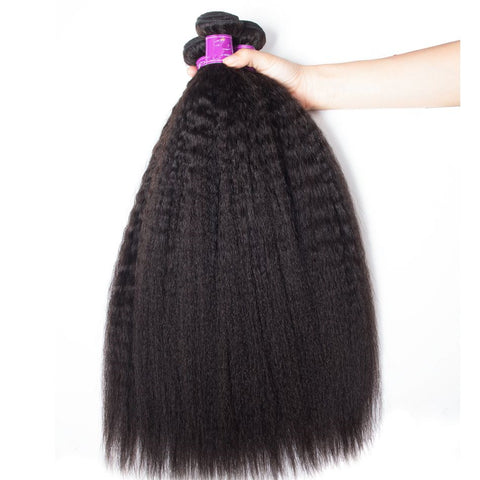 Brazilian Human Hair Weft Black Color Kinky Bundles